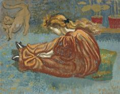 Artwork by Georges Lemmen, Les petits souliers (Precious little shoes), Circa 1897-99 Made of Oil on cardboard