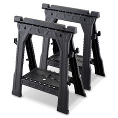 Get the job done with a sturdy set of saw horses. Handy hooks and shelves serve as an extension of your workbench.