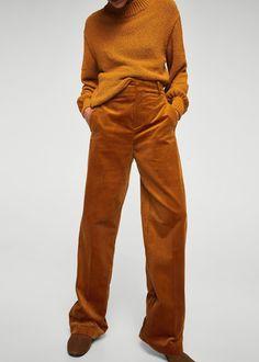 High-waist corduroy trousers -  Women   MANGO USA