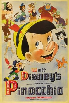 """Disney's Pinocchio first premiered on February """"Figaro was Walt Disney's favorite character. Disney pushed for the kitten to appear in the film as much as possible. Vintage Disney Posters, Retro Disney, Vintage Cartoons, Disney Movie Posters, Classic Movie Posters, Cartoon Posters, Cartoon Movies, Vintage Movies, Disney Movies"""