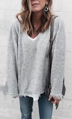 #fall #outfits women's gray sweater; blue denim jeans