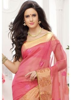 Pink embroidered pure cotton silk saree with pink & gold pallu -SR10410