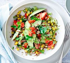 Try this vegetarian salad with protein-packed quinoa and protective carotenoids, a healthy choice for lunch or dinner.