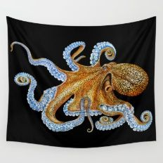 Wall Tapestry featuring Octopus by Tim Jeffs Art