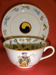 CANONSBURG POTTERY CHINESE FORTUNE TELLING CUP AND SAUCER CUP OF KNOWLEDGE YING  #CANONSBURGPOTTERYCO