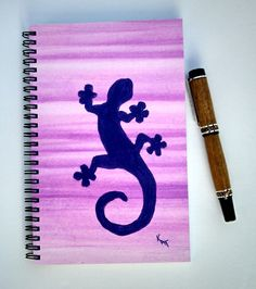 """FREE SHIPPING; Spiral Notebook/Journal; Wire Bound; 5 1/2"""" x 8 1/2""""; Hand Painted with Watercolor & Acrylic; Diary with a bit of art by KatStudioGallery on Etsy"""