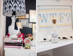 Office Tour: A Packed Party - Inspired By This-love the stack of books and bottle of boy tears!