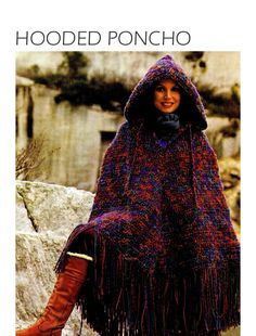 Vintage 70s Crochet HOODED Poncho  PDF Pattern door KinsieWoolShop, $3.20