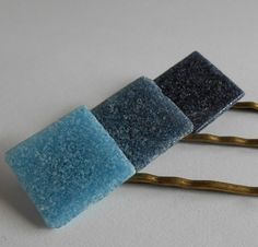 Save 10% - Use code PIN10  Blue Glass Tile Hair Pins Blue Indigo Denim Aqua by midwooddesign