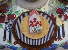 Infuse With Liz: Cheery Cherry Blue! Vintage tablecloth and napkins