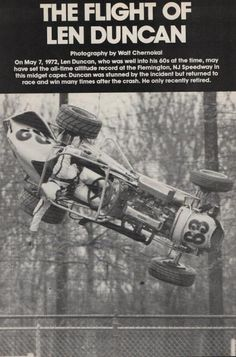 Duncan was nearly 70 years old (well before arm restraints, eh!) and the car got over 20 feet in the air.