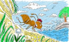 Ant and the Dove Story on Behance Deaf Children, Stories For Kids, Ants, Rooster, Behance, Illustrations, Videos, Animals, Stories For Children