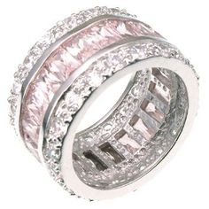 Amazon.com: .925 Sterling Silver Baguette-Cut Pink Eternity Ring - 8.8 Ct in Size 5, Gift-Boxed: Jewelry