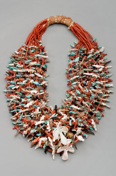 Fetish Necklace | Leekya Deyuse (Zuni). ca. 1935 || This magnificent work is the…