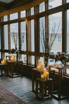 Indoor Ceremony Altar // Fairy Light Willow Branches, Candles // geometric wood pillars, rustic, fall, autumn, winter