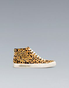 Zara Leopard Print Sneakers with Studs in Animal (two-tone) - Lyst Leopard Print Trainers, Cheetah Shoes, Baskets, Shoe Boots, Shoes Heels, Studded Ankle Boots, Fall Shoes, Dream Shoes, Me Too Shoes