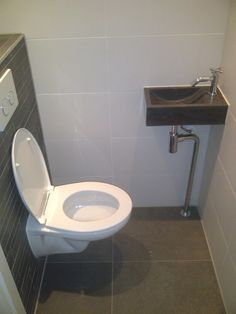 5 Small Bathroom Ideas - My Romodel Small Toilet Room, Guest Toilet, Downstairs Toilet, New Toilet, Grey Bathroom Tiles, Modern Bathroom Design, Bathroom Interior, Bathroom Designs, Tiny Bathrooms