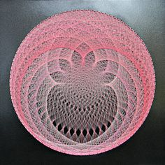 String & Nail Art 'The Pink Lotus'. Wall Art on Wood Home Decor. Unique embroidery sacred geometry nature spiritual art, ready to hang