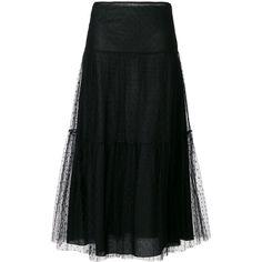 Red Valentino tulle midi skirt (19 565 UAH) ❤ liked on Polyvore featuring skirts, black, tulle skirts, midi skirt, knee length tulle skirt, red valentino skirt and tulle midi skirt