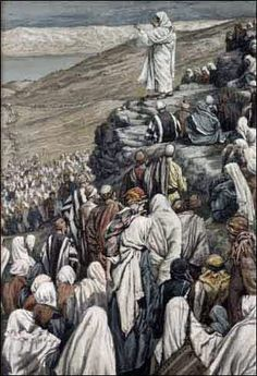 Jesus Christ, during the sermon on the mount, teaches the eight beatitudes. Artwork by J. Bible Pictures, Jesus Pictures, Beatitudes Of Jesus, Beaux Arts Paris, Saint Esprit, Life Of Christ, Biblical Art, Kingdom Of Heaven, Jesus Is Lord