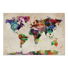 Watercolor World Map $12.75