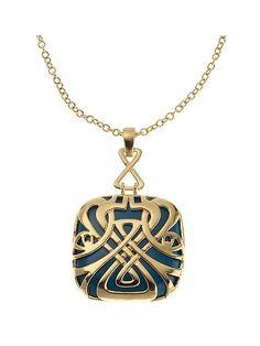 Biba teal and gold pendant
