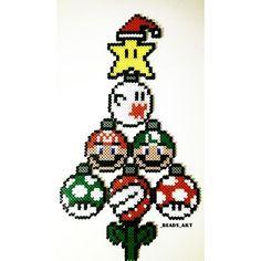 Super Mario Christmas tree perler beads by  _beads_art