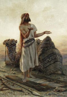 Gustav Pope (British, ?-1895) A desert prayer signed 'G.POPE' (lower left) oil on canvas  50 x 34cm (19 5/8 x 13 3/8in).