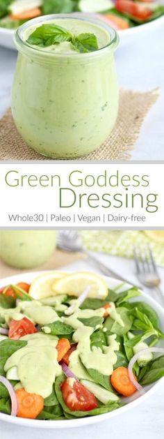 Made with just this Green Goddess Dressing is quick to make full of flavor and will turn any boring salad into something sensational Vegan Paleo Eggfree. Dairy Free Recipes, Real Food Recipes, Vegetarian Recipes, Cooking Recipes, Healthy Recipes, Dairy Free Dressing Recipes, Cooking Tips, Dairy Free Dips, Dairy Free Salads