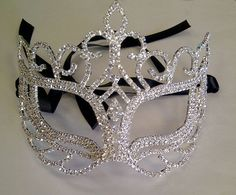 Rhinestone Crystal Masquerade Mask with Silver by BingCheri, $75.00