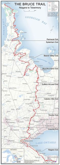(This may be a hiking trail, but a jeep trip this far up would be killer) Bruce Trail Map, Ontario, Canada