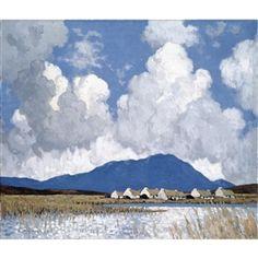 Paul Henry (Irish, A Connemara Village. Oil on canvas, 24 x 28 in. Ireland Landscape, Landscape Art, Landscape Paintings, Irish Painters, Irish Art, Connemara, Illustrations, Art Studies, Art Market