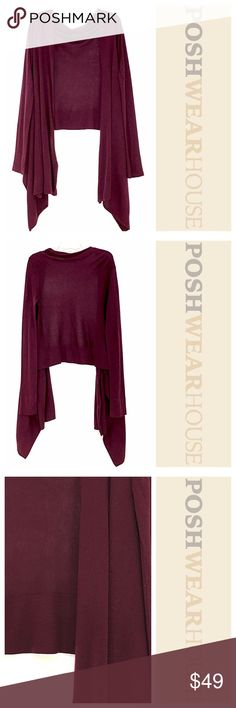"Wine Plum Cardigan - Can fit up to a Medium Swing Closure • Length in the front 24"" • Length in the back 36"" BCBGMaxAzria Sweaters Cardigans"