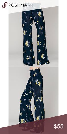 Free People FP One Floral Hippie Pant in Blue NWOT New without tags. Free People flowy super comfy pants with floral print Free People Pants
