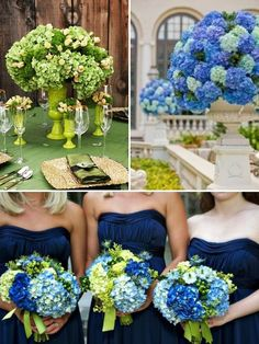 Navy with bright green is interesting. Ladies, you can find inexpensive vases & containers at The Dollar Tree/Dollar General, Fred's, Big Lots, etc. & spray paint them using Rustoleum Double Coverage to coordinate with your color scheme. Hortensia Hydrangea, Hydrangea Bouquet, Green Hydrangea, Plumeria Bouquet, Green Flowers, Hydrangeas, Beautiful Flowers, Green Wedding, Summer Wedding