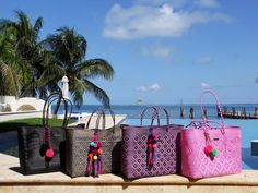 NEW! We are excited to bring you these hand-woven bags from artisans in Oaxaca, bright beautiful colors, made to last and enjoy forever. Ethical fashion from Mexico, greetings to you all from Cancun! (These photos are from today, sending you some of this gorgeous sunshine!)