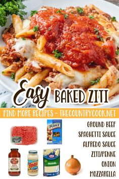 This easy baked ziti is a huge family favorite. Creamy, cheesy alfredo pasta topped with a beefy spaghetti sauce! Then topped with melted cheese! Easy Dinner Recipes, Dinner Ideas, Easy Meals, Freezer Meals, Casserole Recipes, Pasta Recipes, Cooking Recipes, Crock Pot Slow Cooker, Crockpot