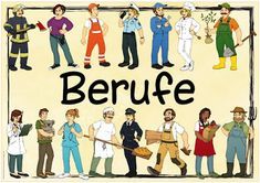 "Ideenreise: Themenplakat ""Berufe"" Kindergarten Portfolio, Kindergarten Themes, Social Themes, German Words, Community Helpers, German Language, Early Education, Learning Environments, Student Gifts"