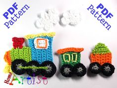 Train crochet applique pattern  This is an -INSTANT DOWNLOAD- pattern of a cute…