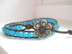Aqua Beauty Bracelet  Beaded Leather Double by JulieEllynDesigns, $38.00