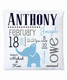 Look what I found on #zulily! Blue Elephant Personalized Birth Announcement Pillow #zulilyfinds