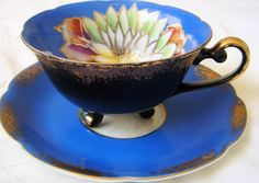 Vintage Royal Sealy Cobalt Blue and Black Footed Teacup and Saucer