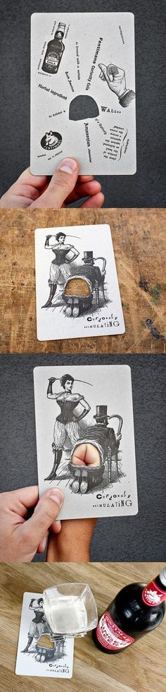Hilariously Interactive Vintage Style Letterpress Beer Coaster Business Card: #beerart