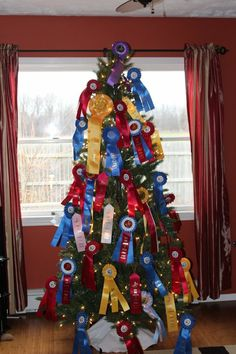 horse show ribbons would make beautiful decorations on an equestrian themed christmas tree