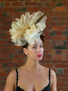 CHAMPAGNE TIFFANY | Hat/Fascinator for Caulfield Cup | FORD MILLINERY  $420  Hand-pleated vanilla sinamay, sculpted into one continuous double-fan that claims height and delicately touches the face. One ostrich quill spine orbits the centre, as the other stands tall fore contrast. Two glorious golden tail pheasant feathers (70-80cm) add even more height. Elegant, refined, and naturally glamourous. Caulfield Cup, Spring Racing Carnival, Pheasant Feathers, Millinery Hats, Fancy Hats, Fascinator, Sculpting, Ford, Glamour