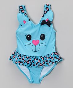 Another great find on #zulily! Blue Kitty Skirted One-Piece - Infant, Toddler & Girls by Candlesticks #zulilyfinds