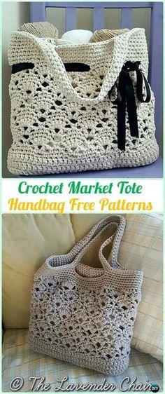 Mercado de ganchillo bolso de mano del patrón libre - #Crochet bolso de Patrones gratis