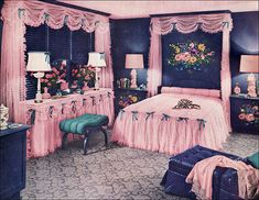 "1950's PINK! Bedroom. Published in the July 1950 edition of American Home magazine.  Repinning because of the ""framed"" flowers between the headboard and ceiling.  Hate the  pink.  Even the '50's saw its share of bad design."