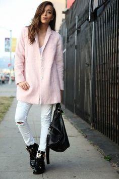 Coat and boyfriend jeans