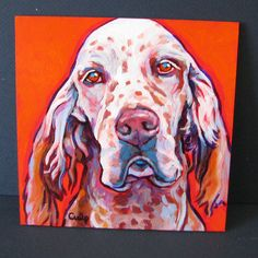Red and White ENGLISH SETTER Dog Original Portrait by colormutts